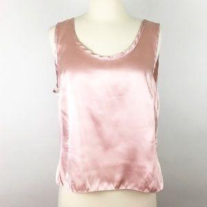 Tops - silk satin blush blouse top crop top tank shirt L